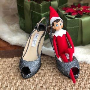 Stunning Jimmy Choo Lame' Glitter Heels, 39.5